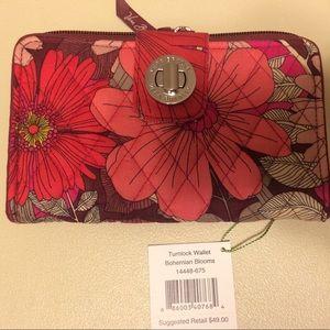 NWT Vera Bradley Turn Lock Wallet, Bohemian Blooms
